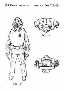 Original Admiral Ackbar patent from the first trilogy of the star wars series. This star wars poster is in the style white