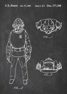 Original Admiral Ackbar patent from the first trilogy of the star wars series. This star wars poster is in the style chalkboard