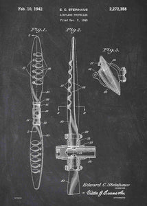airplane propellor patent print, airplane propellor poster shown in the style chalkboard