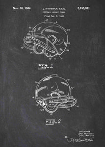 american football helmet patent print, american football nfl poster shown in the style chalkboard