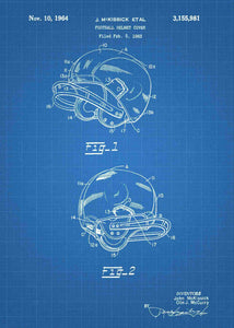 american football helmet patent print, american football nfl poster shown in the style blueprint