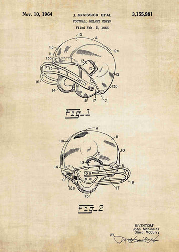 american football helmet patent print, american football nfl poster shown in the style vintage