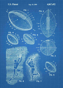 american football patent print, american football nfl poster shown in the style blueprint