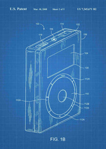 apple ipod patent print, apple ipod poster in the style blueprint