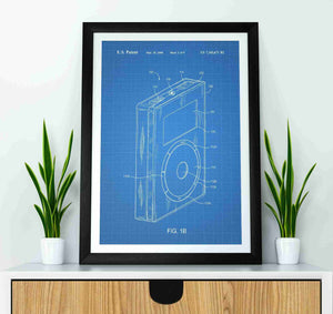 apple ipod patent print, apple ipod poster in the style blueprint mocked up in a frame