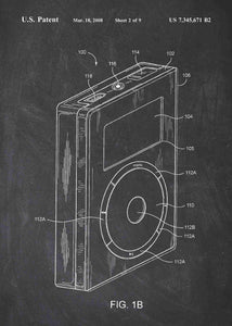 apple ipod patent print, apple ipod poster in the style chalkboard