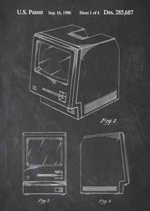 apple macintosh patent print, apple macintosh poste rin the style chalkboard