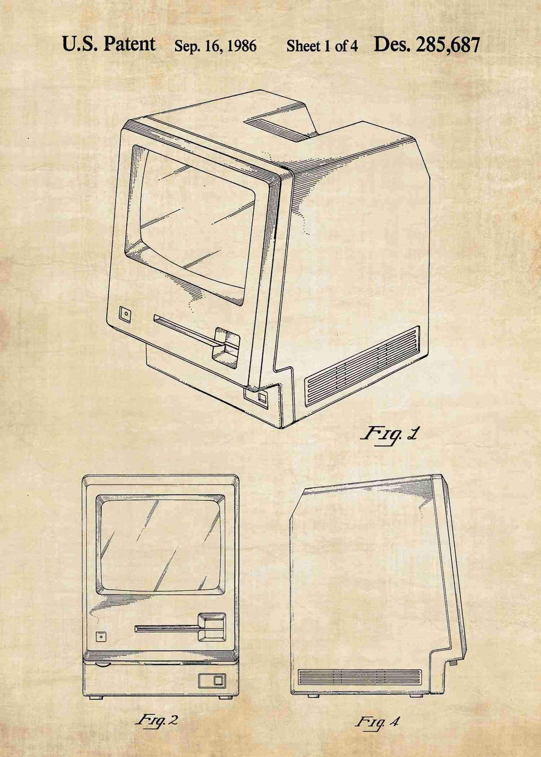 apple macintosh patent print, apple macintosh poste rin the style vintage