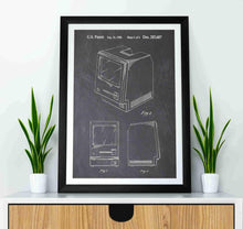 apple macintosh patent print, apple macintosh poste rin the style chalkboard mocked up in a frame