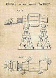 Original AT-AT Walker patent from the first trilogy of the star wars series. This star wars poster is in the style vintage