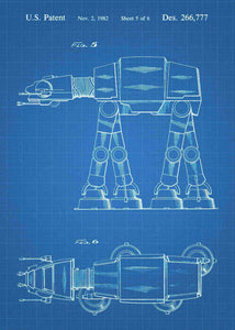 Original AT-AT Walker patent from the first trilogy of the star wars series. This star wars poster is in the style blueprint