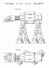 Original AT-AT Walker patent from the first trilogy of the star wars series. This star wars poster is in the style white