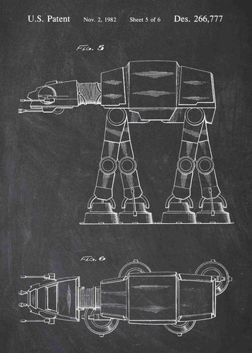 Original AT-AT Walker patent from the first trilogy of the star wars series. This star wars poster is in the style chalkboard
