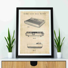 Atari 2600 Console patent print, Atari 2600 Console poster in the style vintage mocked up in a frame