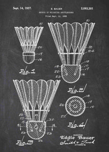 badminton shuttlecock patent print, badminton poster in the style chalkboard