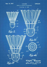badminton shuttlecock patent print, badminton poster in the style blueprint
