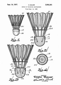 badminton shuttlecock patent print, badminton poster in the style white