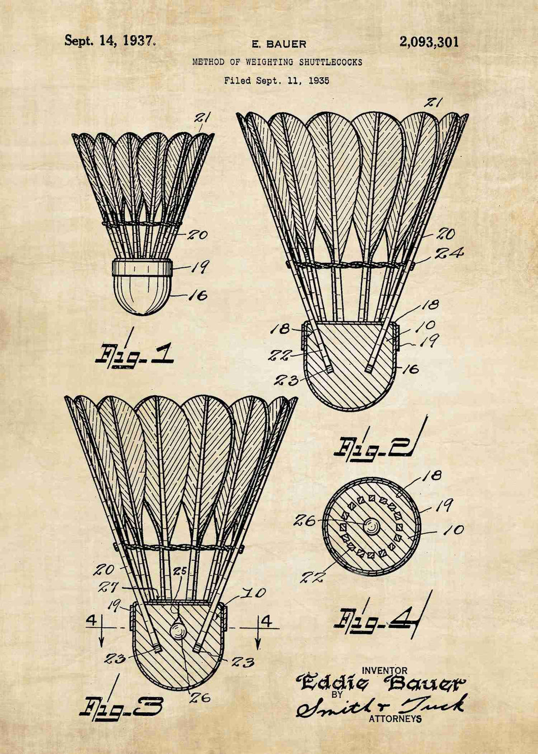 badminton shuttlecock patent print, badminton poster in the style vintage