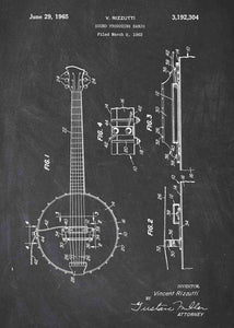 Banjo patent print, banjo poster shown in the style chalkboard