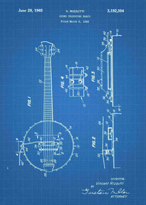 Banjo patent print, banjo poster shown in the style blueprint