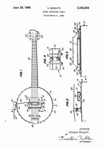 Banjo patent print, banjo poster shown in the style White