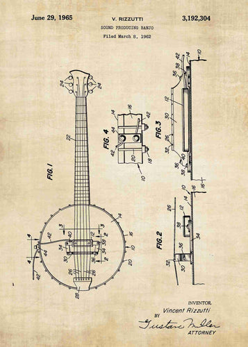 Banjo patent print, banjo poster shown in the style vintage