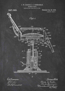 barber shop chair patent print, barber shop poster shown in the style chalkboard
