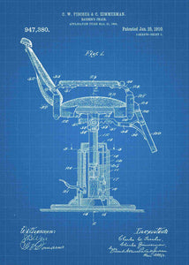 barber shop chair patent print, barber shop poster shown in the style blueprint