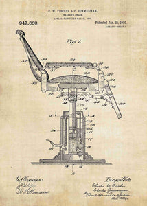 barber shop chair patent print, barber shop poster shown in the style vintage