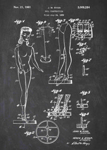 Barbie patent print, barbie poster shown in the style Chalkboard