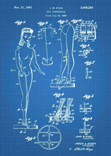 Barbie patent print, barbie poster shown in the style blueprint