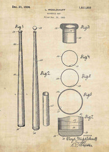 baseball bat patent print, baseball poster shown in the style vintage