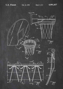 basketball hoop patent print, basletball poster shown in the style chalkboard