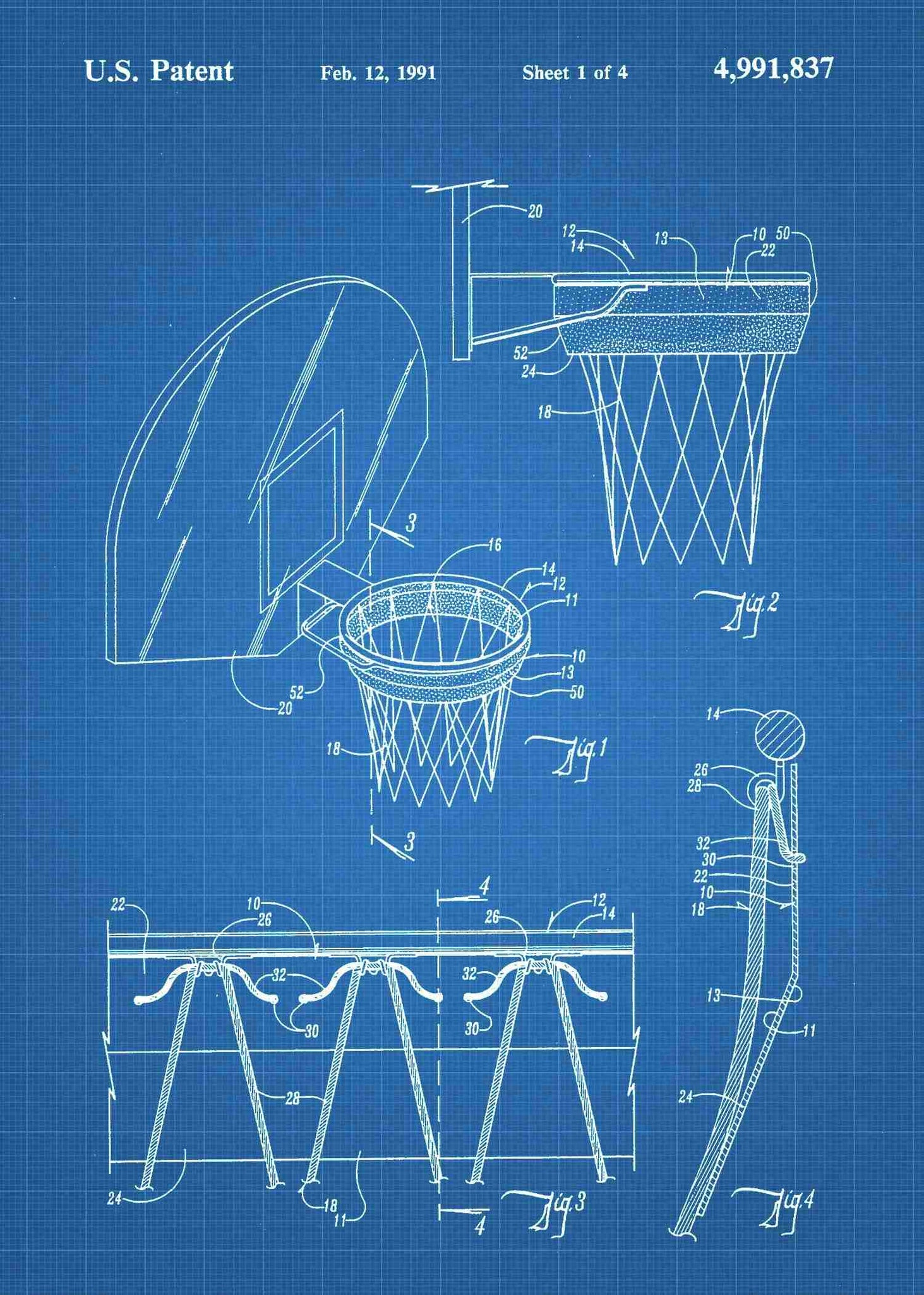 Basketball Hoop Patent Print Poster Wall Art Diagram Basletball Shown In The Style Blueprint