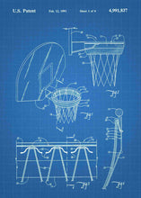 basketball hoop patent print, basletball poster shown in the style blueprint