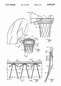 basketball hoop patent print, basletball poster shown in the style white