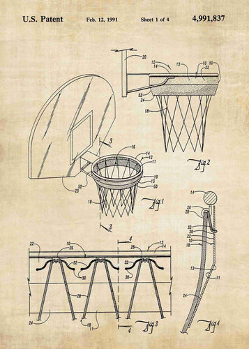 basketball hoop patent print, basletball poster shown in the style vintage
