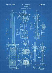 bayonet patent print, bayonet poster in the style blueprint