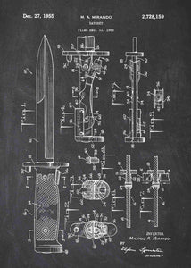 bayonet patent print, bayonet poster in the style chalkboard