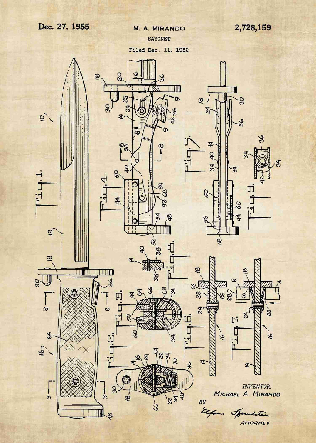 bayonet patent print, bayonet poster in the style vintage