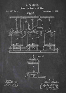 beer brewing patent print, beer poster shown in the style chalkboard