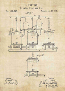 beer brewing patent print, beer poster shown in the style vintage