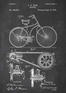 Bicycle patent print, bike poster shown in the style chalkboard