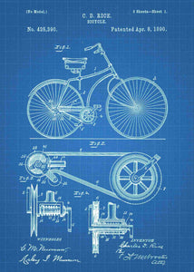 Bicycle patent print, bike poster shown in the style blueprint
