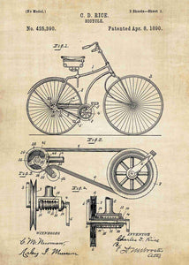 Bicycle patent print, bike poster shown in the style vintage