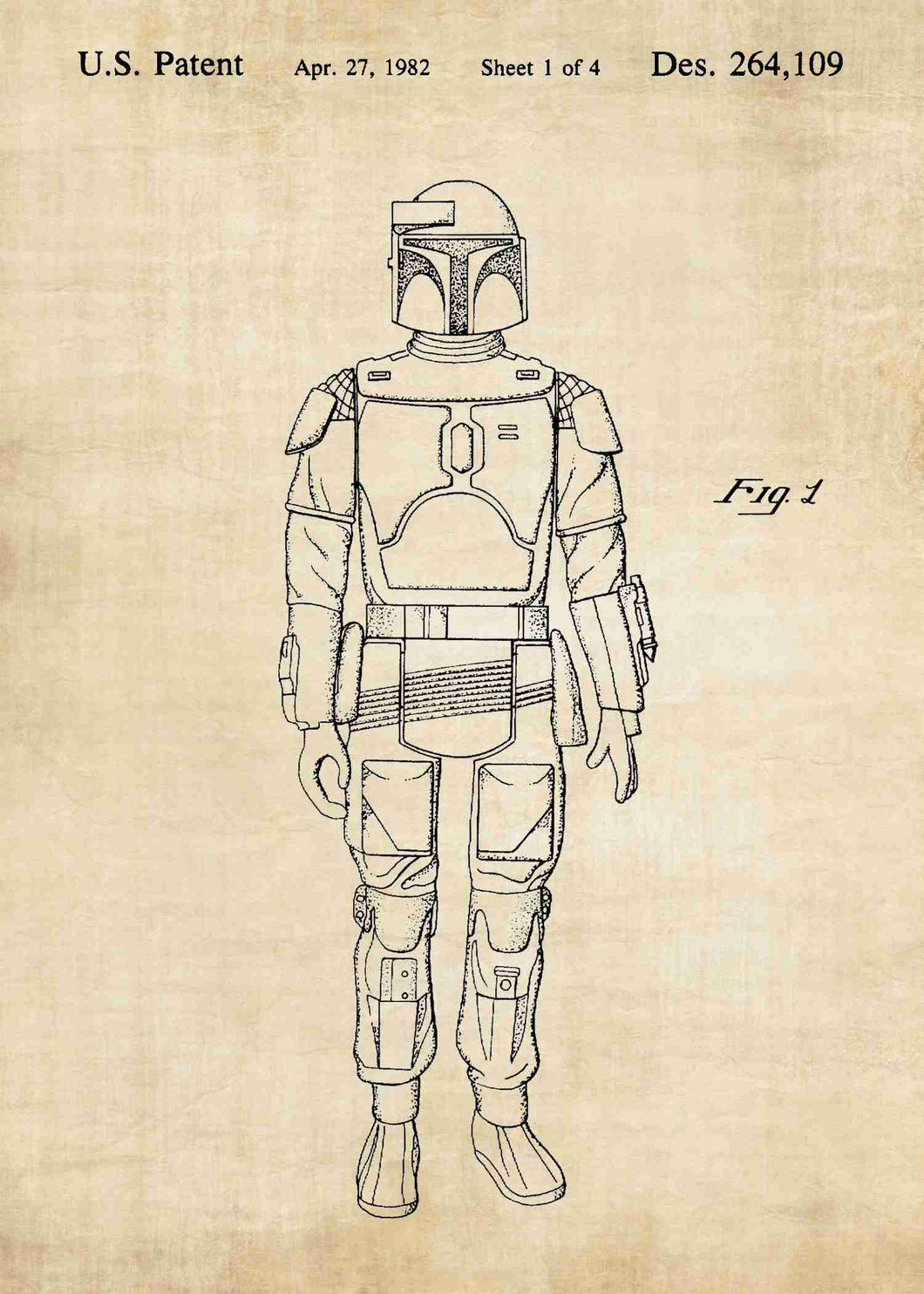 Original boba fett patent from the first trilogy of the star wars series. This star wars poster is in the style vintage