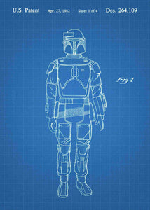 Original boba fett patent from the first trilogy of the star wars series. This star wars poster is in the style blueprint