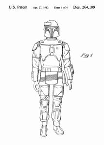 Original boba fett patent from the first trilogy of the star wars series. This star wars poster is in the style white