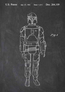 Original boba fett patent from the first trilogy of the star wars series. This star wars poster is in the style chalkboard