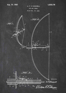 bow and arrow patent print, bow and arrow poster in the style chalkboard